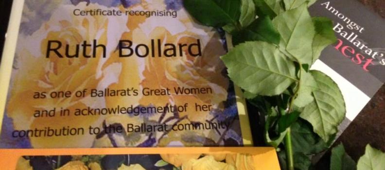 Ruth Bollard inducted in the Ballarat's Greatest Women Honour Roll.